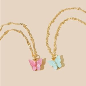 Jewelry - gold adjustable butterfly pink/blue necklaces